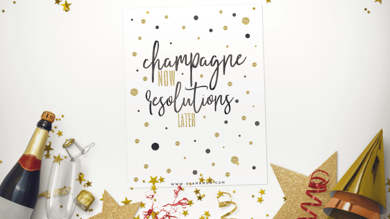 Free Printable: Champagne Now, Resolutions Later