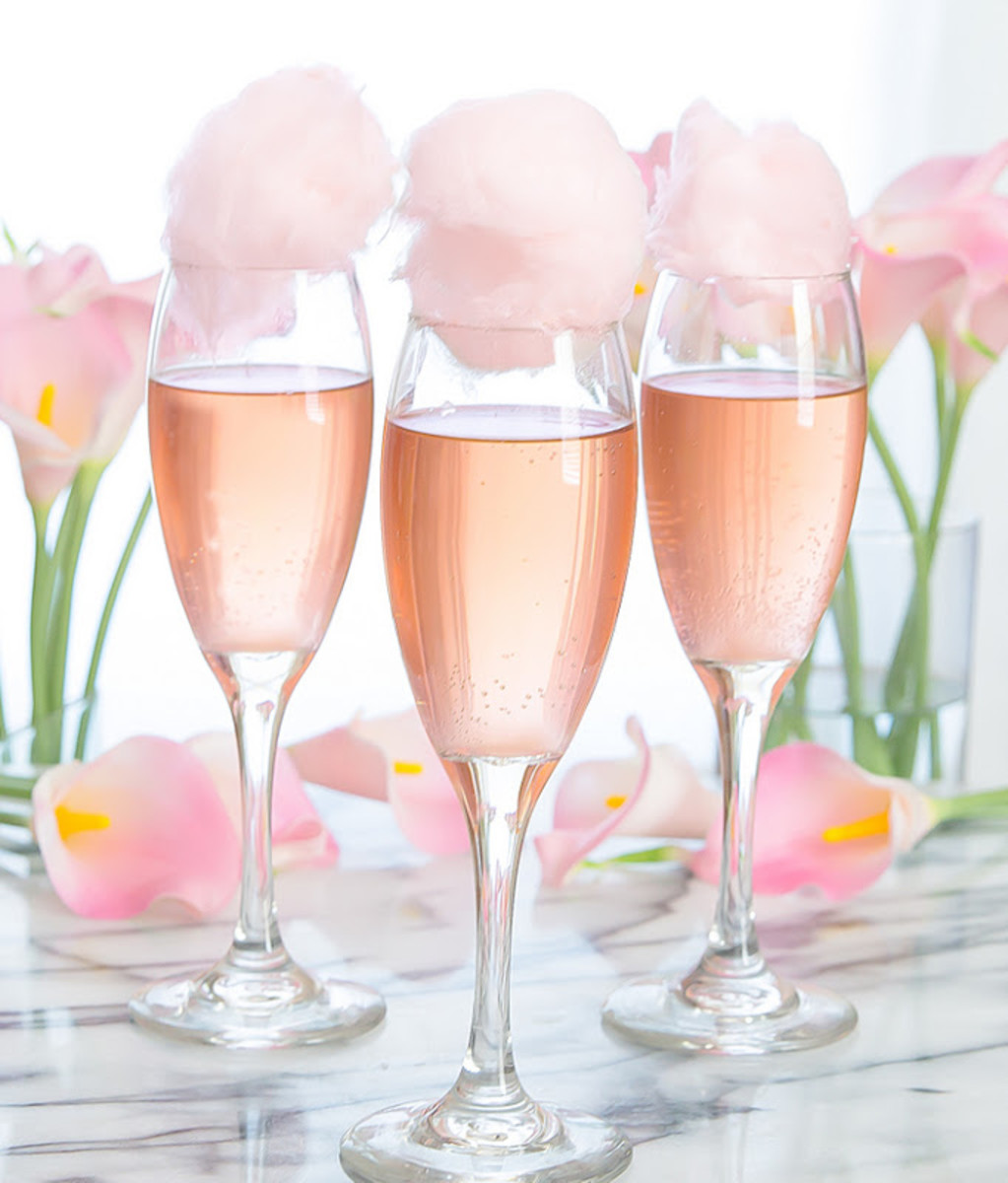 Cotton Candy Champagne Cocktails via Kirbie's Cravings