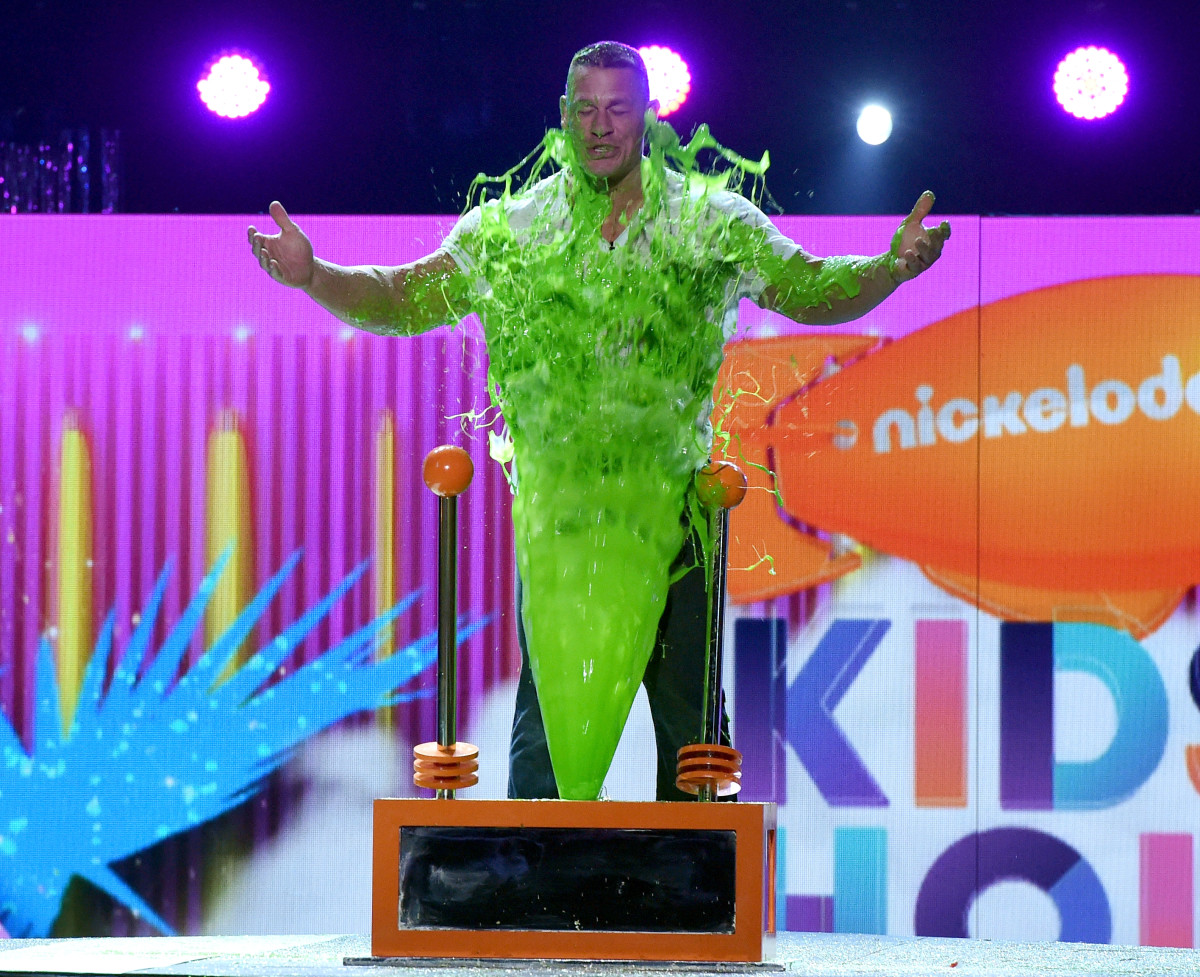 Host John Cena gets slimed. Photo Credit: Getty Images