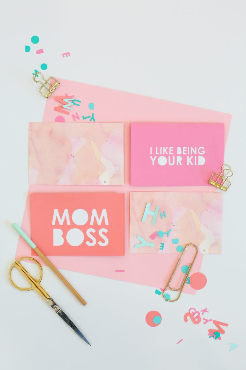 DIY Typography Mother's Day Cards from lovelyindeed.com