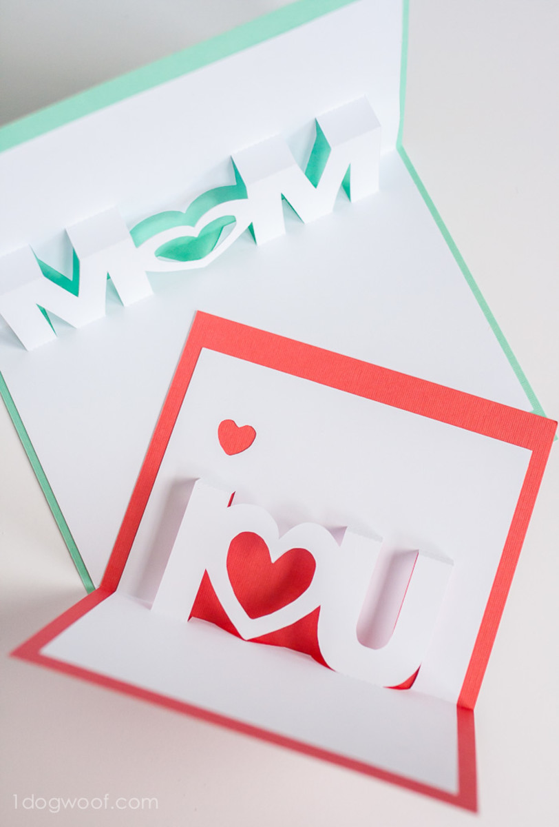 Mom, I Love You Pop Up Cards With Free Silhouette Cut Files from 1dogwoof.com