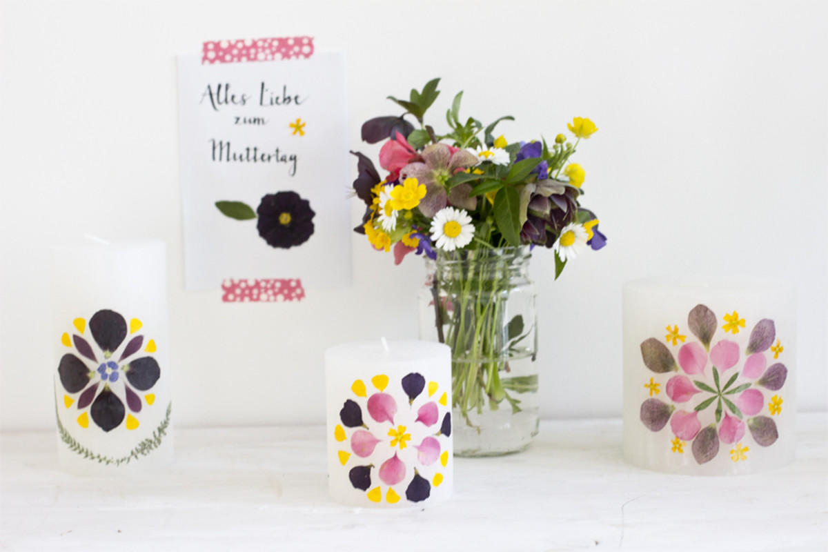 DIY Decorated Candles As Mother's Day Gift from look-what-i-made.com