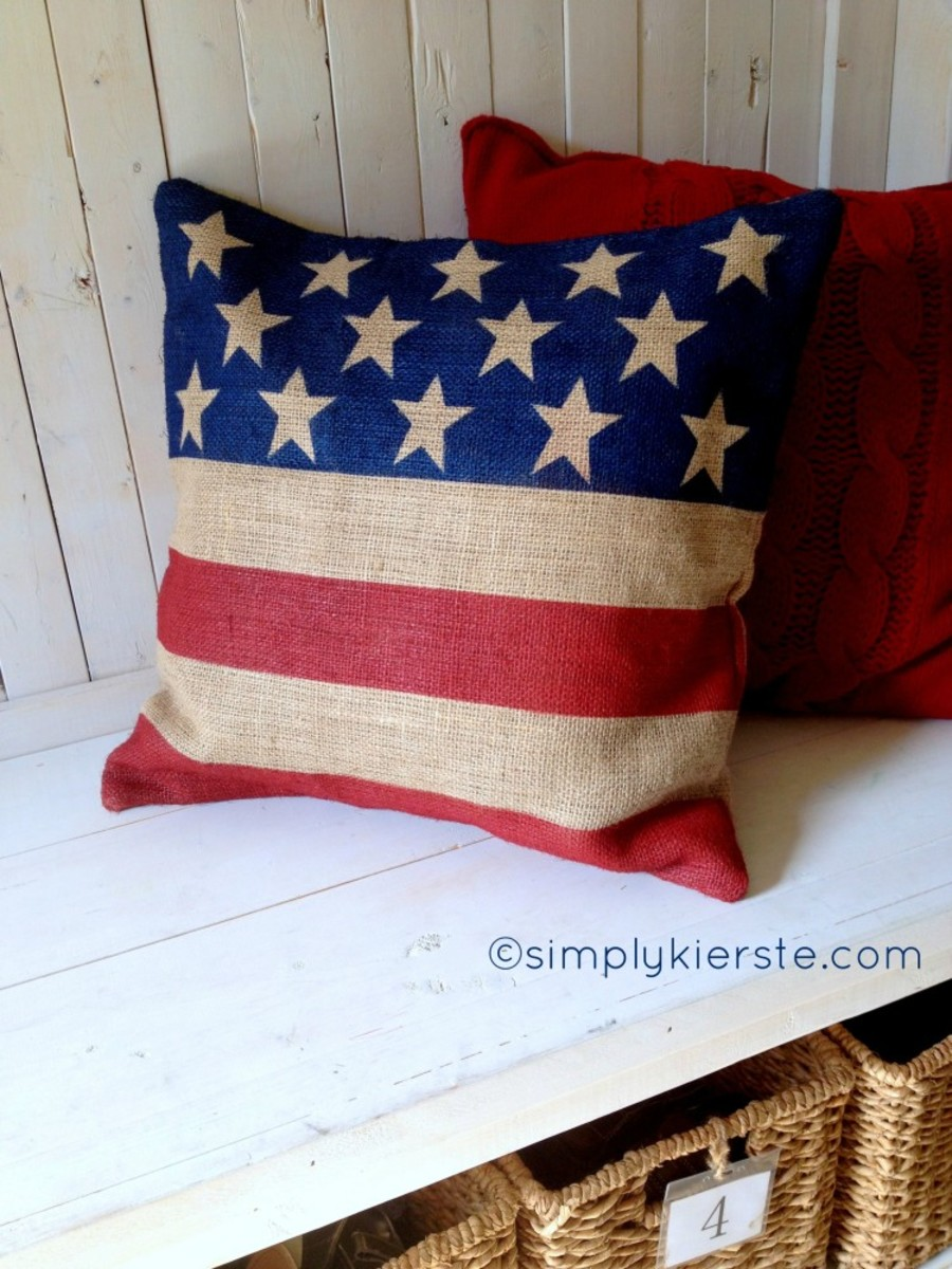 Burlap Flag Pillow from simplykierste.com