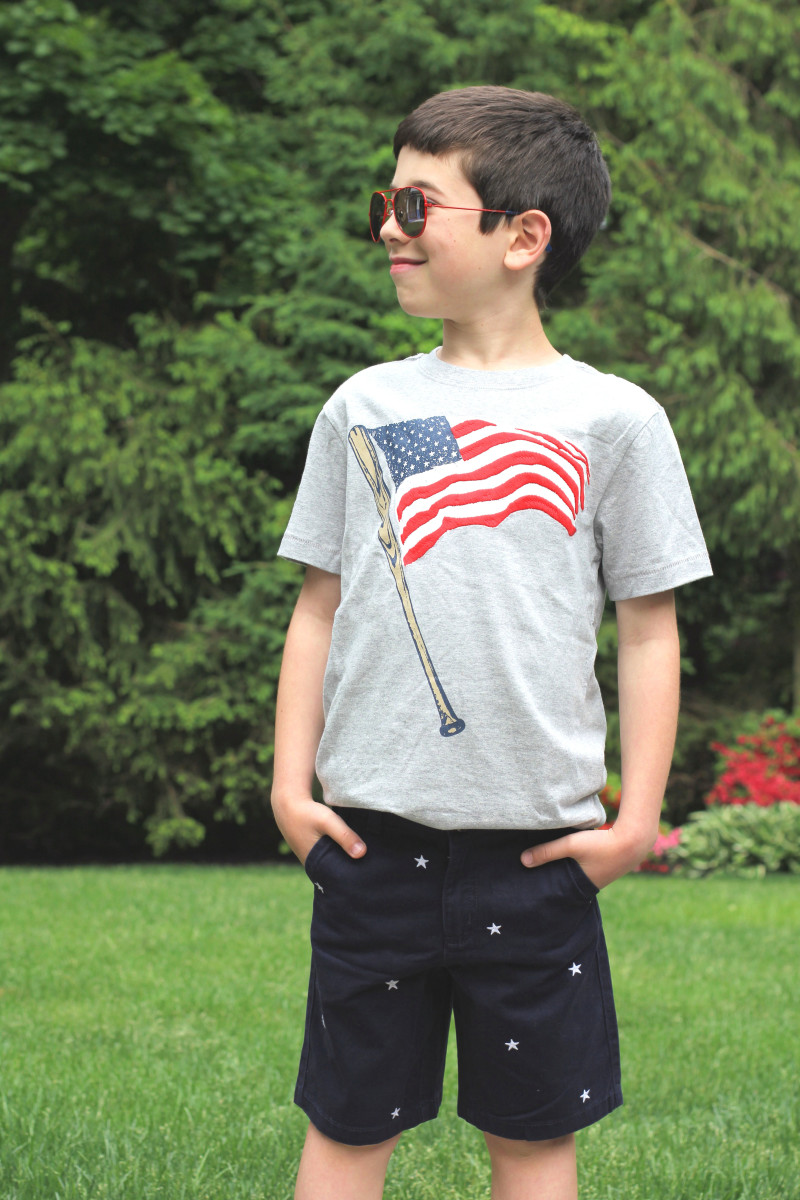 baseball flag tee // star shorts // flag sunglasses