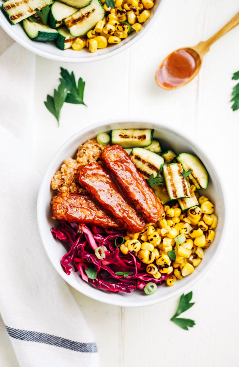 Summer BBQ Tempeh Bowls from makingthymeforhealth.com