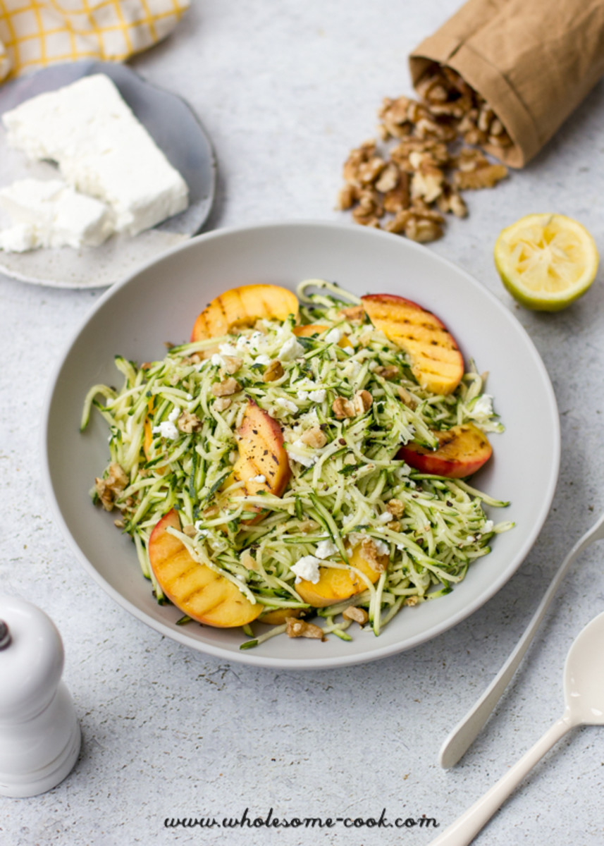 Zoodle, Grilled Peach And Feta Salad from wholesome-cook.com