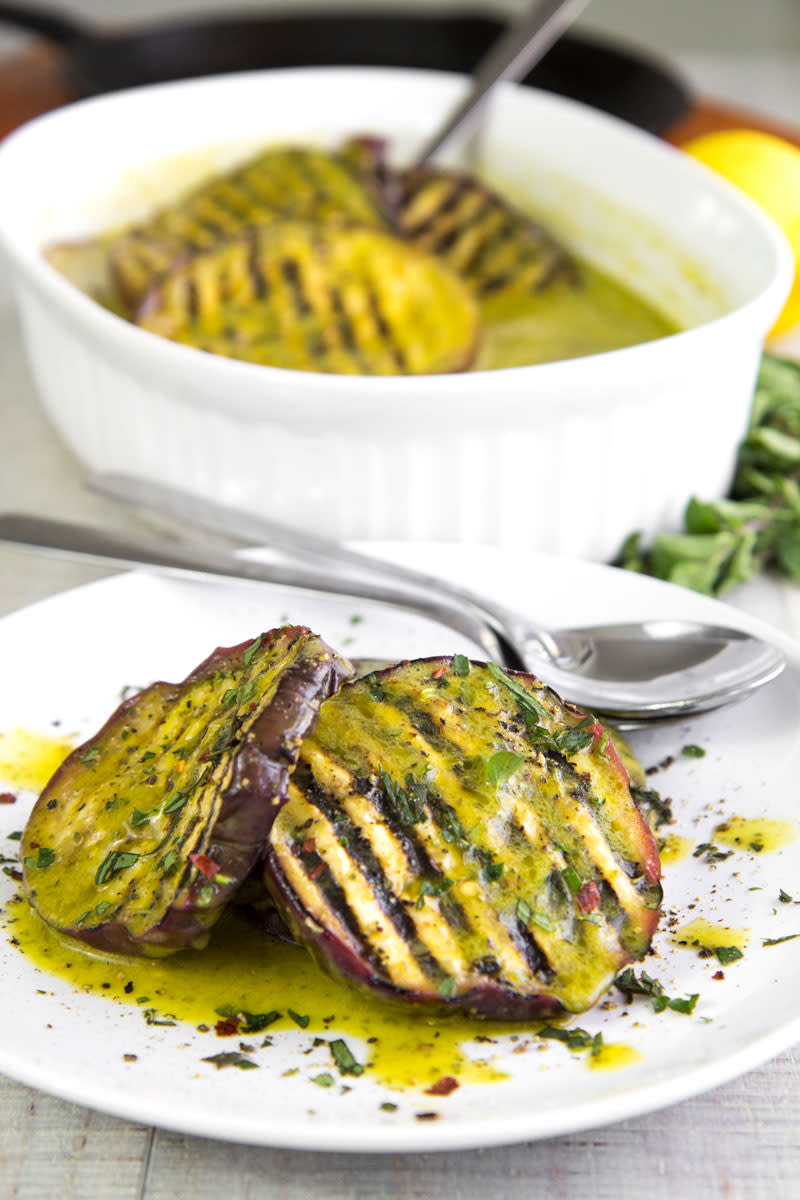 Grilled Eggplants Marinated W/ Salmoriglio from philosokitchen.com