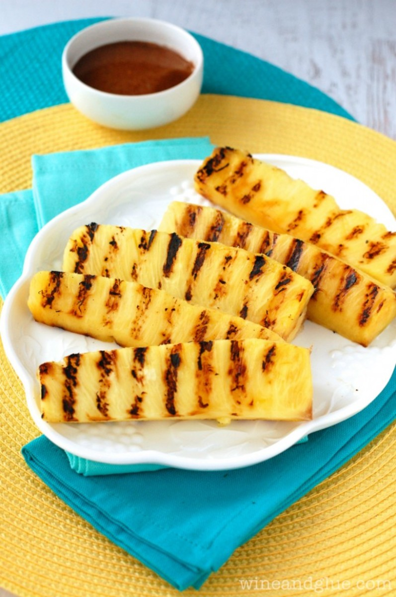 Grilled Pineapple With Cinnamon Honey Drizzle from wineandglue.com