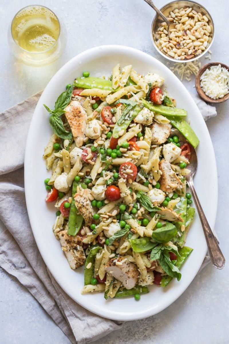 Pesto Pasta Chicken Salad With Peas And Mozzarella from foodnessgracious.com