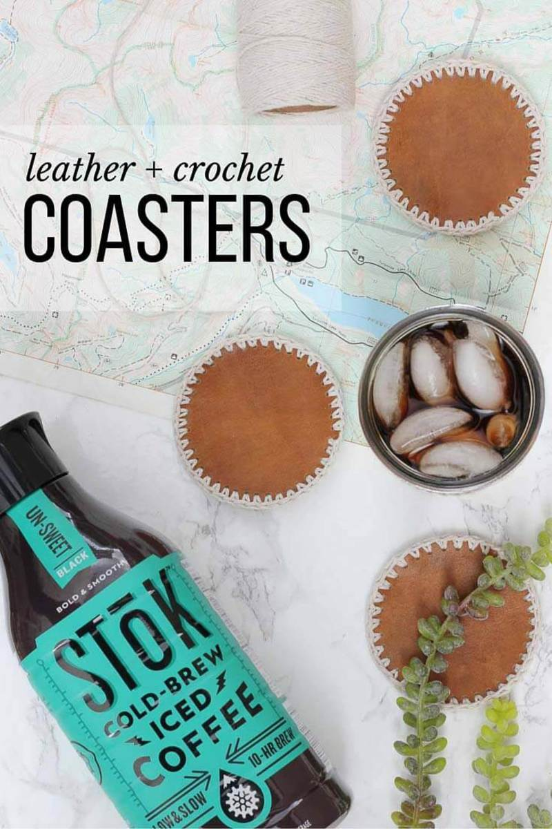 Masculine DIY Leather Crochet Coasters from makeanddocrew.com
