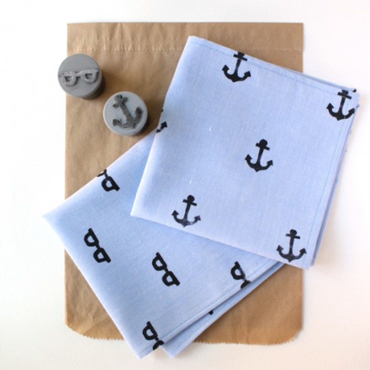 Hand Stamped Handkerchief For Dad from papernstitchblog.com