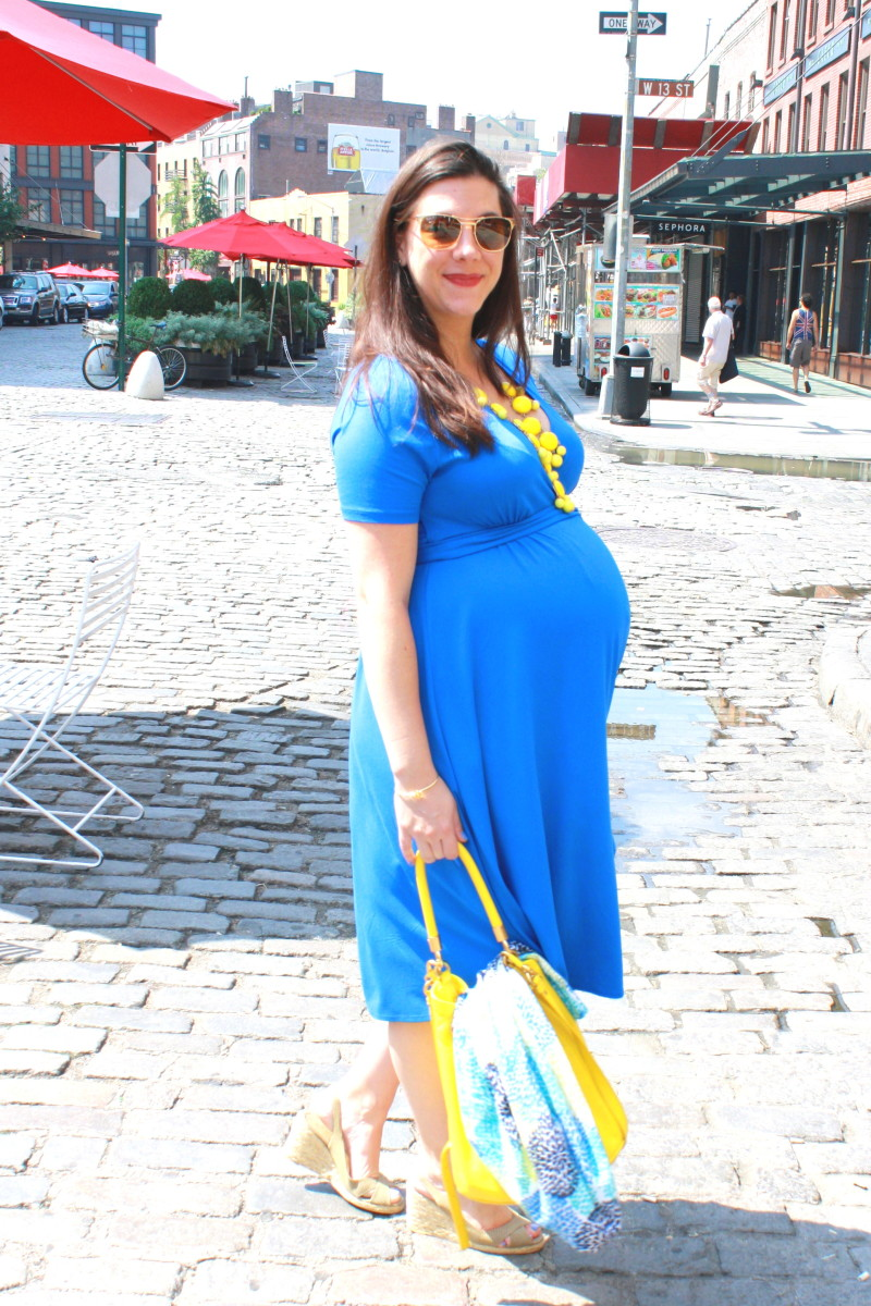 Maternity Style: Isabella Oliver Capped Wrap Dress in Azure