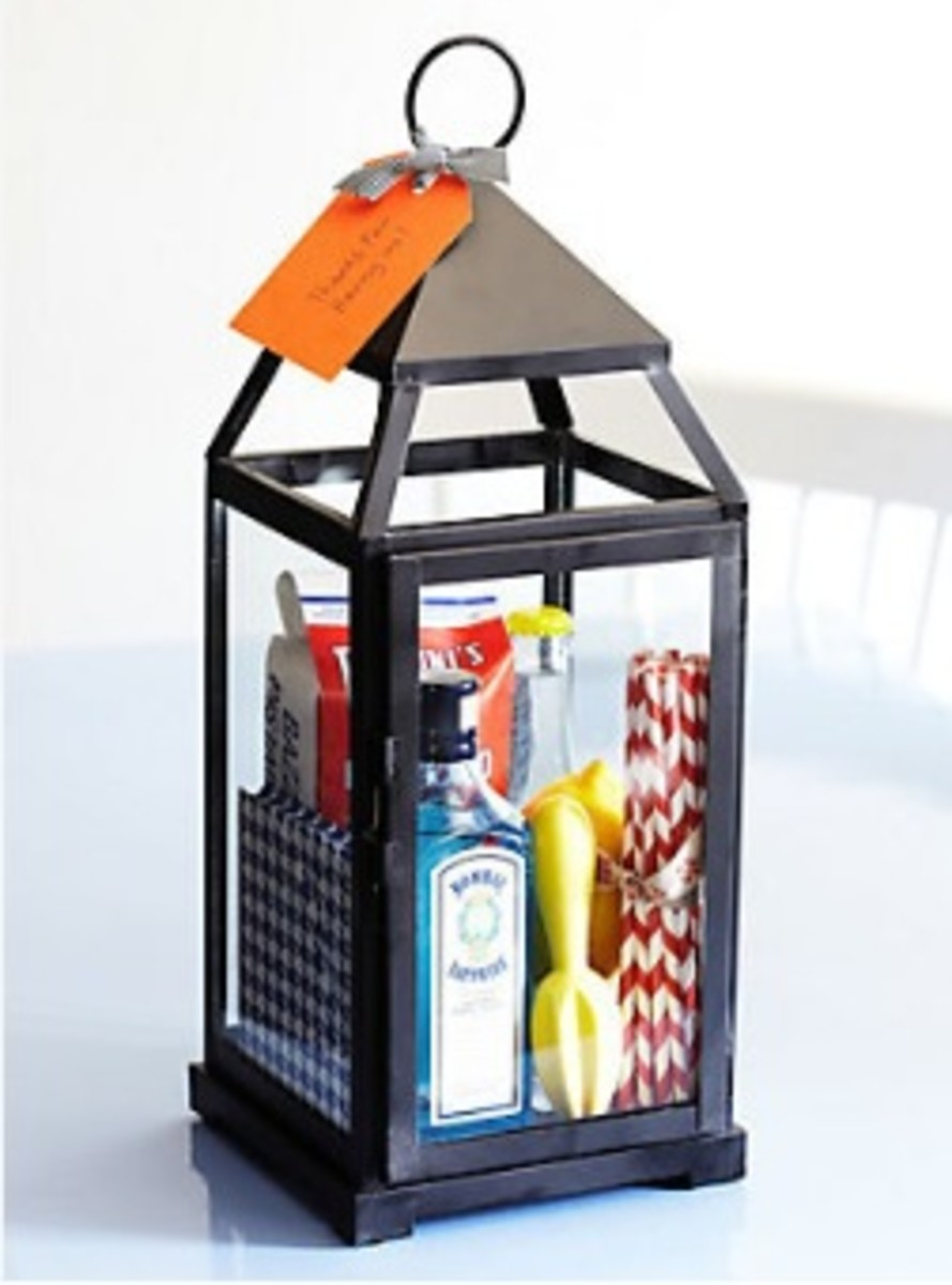One Kings Lane Lantern Stuffed with Hostess Gifts