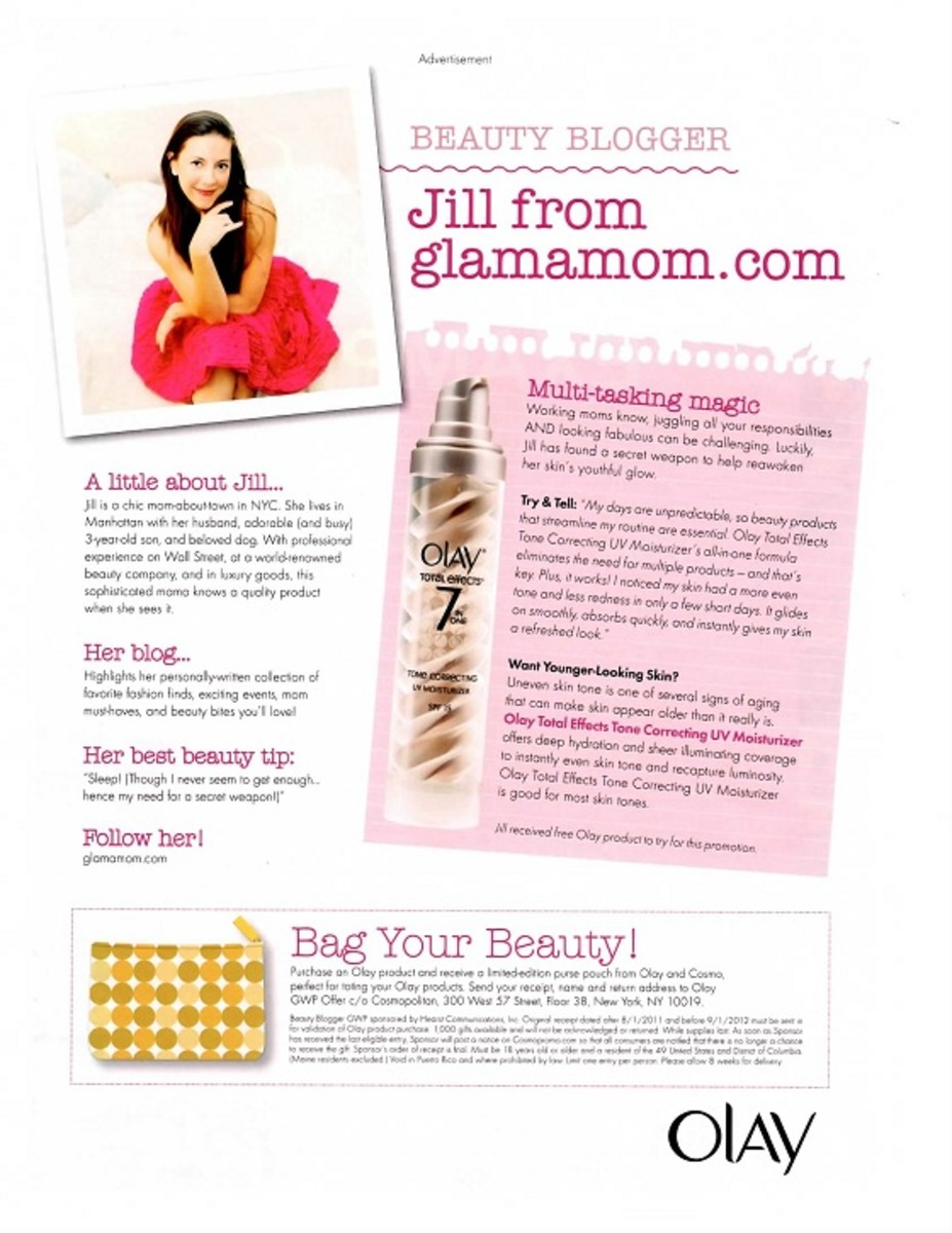 Jill Seiman Olay Advertisement May 2012 Cosmopolitan