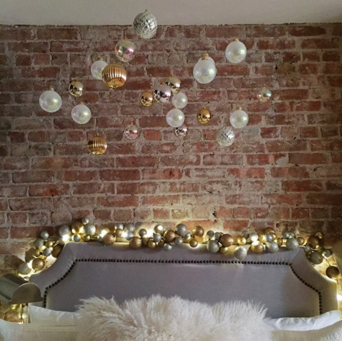 Glam Christmas - ornaments above the bed