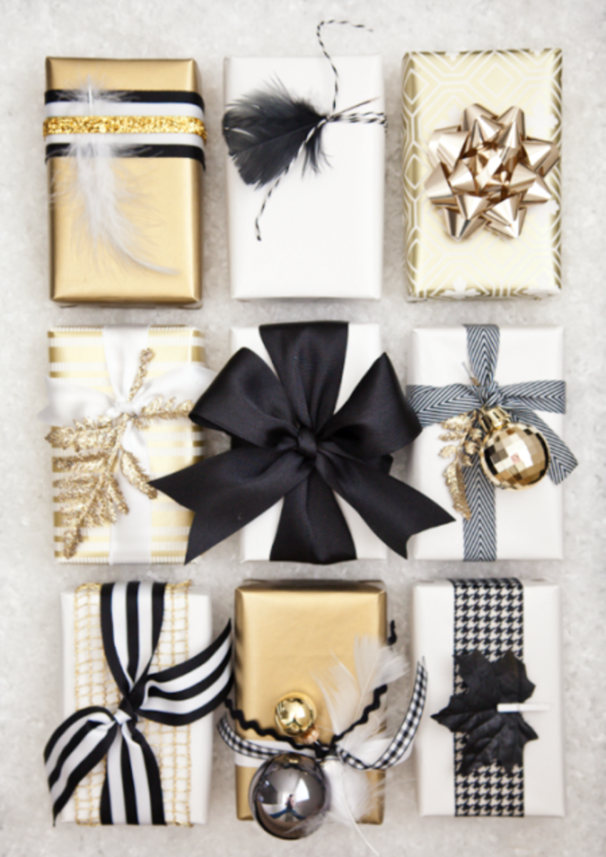 Glam Christmas - black white and gold gifts