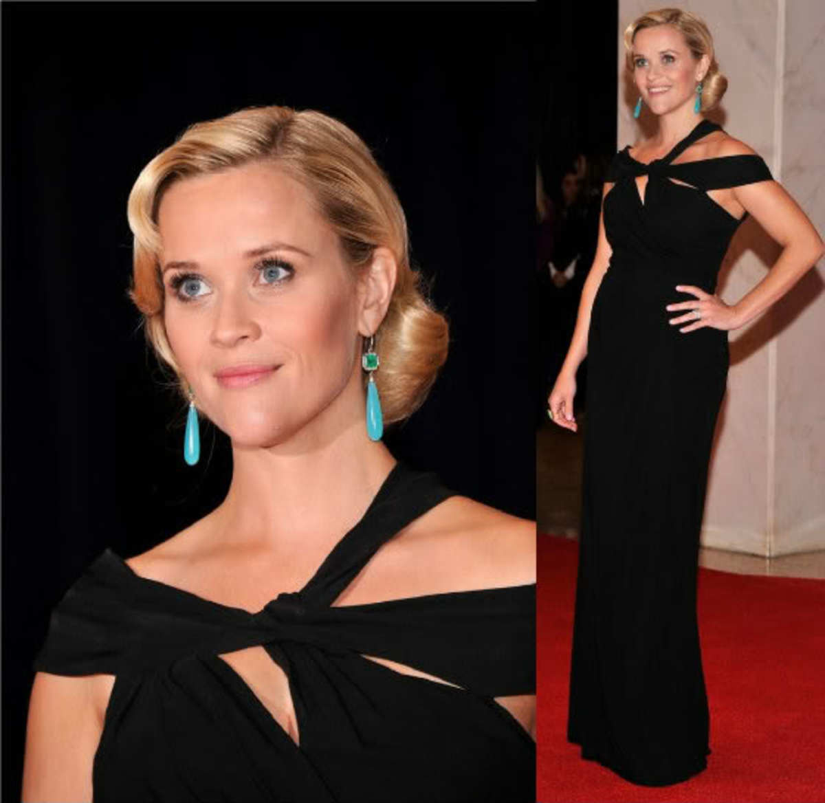 Reese Witherspoon at the White House Correspondants Dinner in Monique Lhuillier & Turquois Earrings