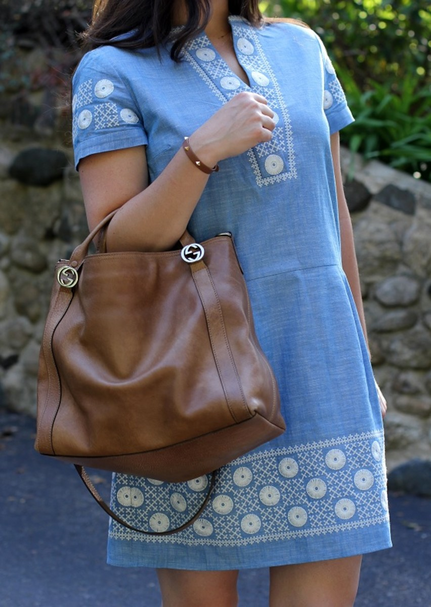 Gucci Light Brown Cuir Leather Miss GG Handle Bag