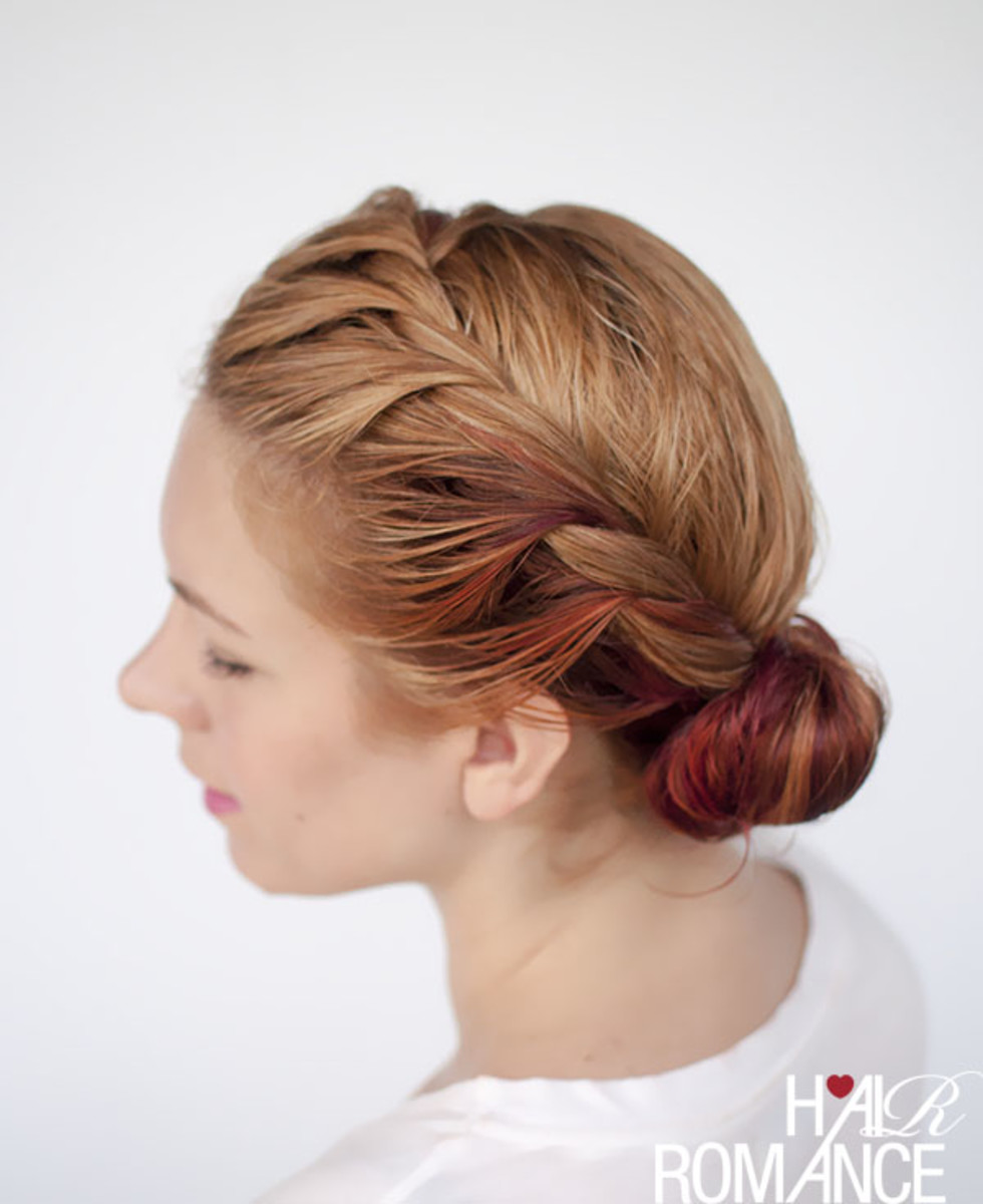 wet hairstyle side twist bun via Hair Romance
