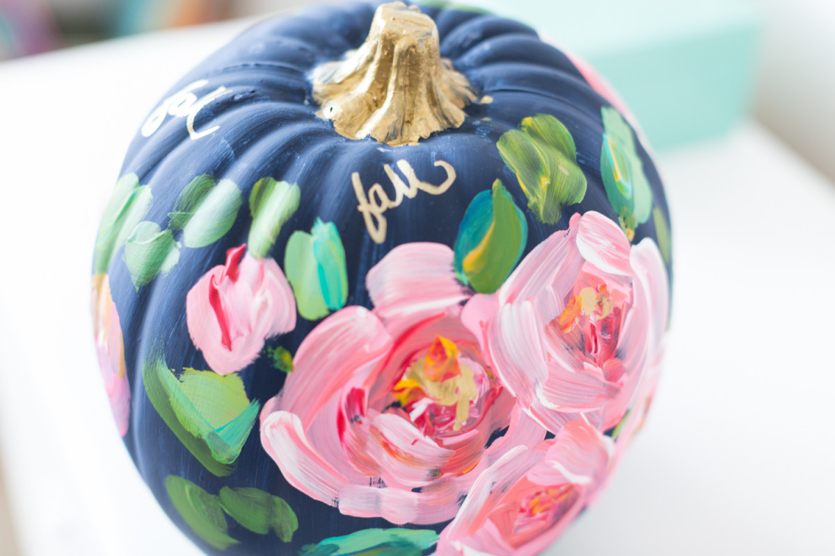 Hand Printed Painted Floral Pumpkin from Craftberry Bush