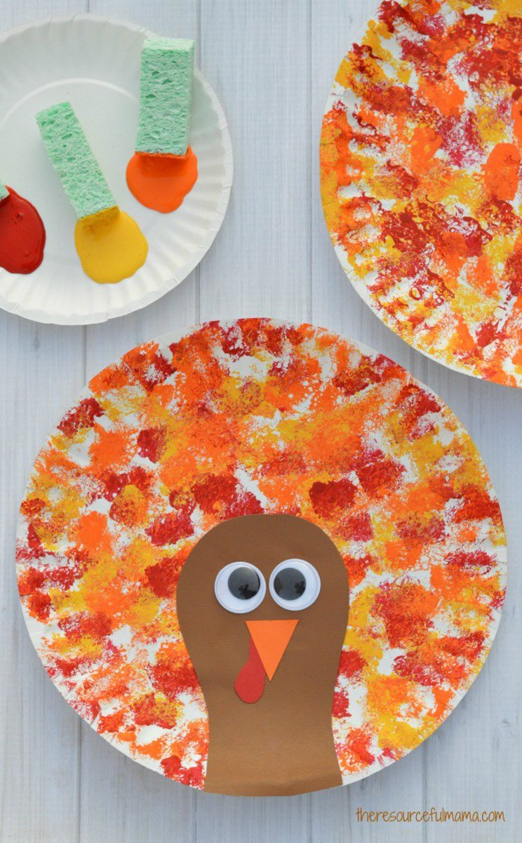 Sponge Painted Turkey Craft from The Resourceful Mama