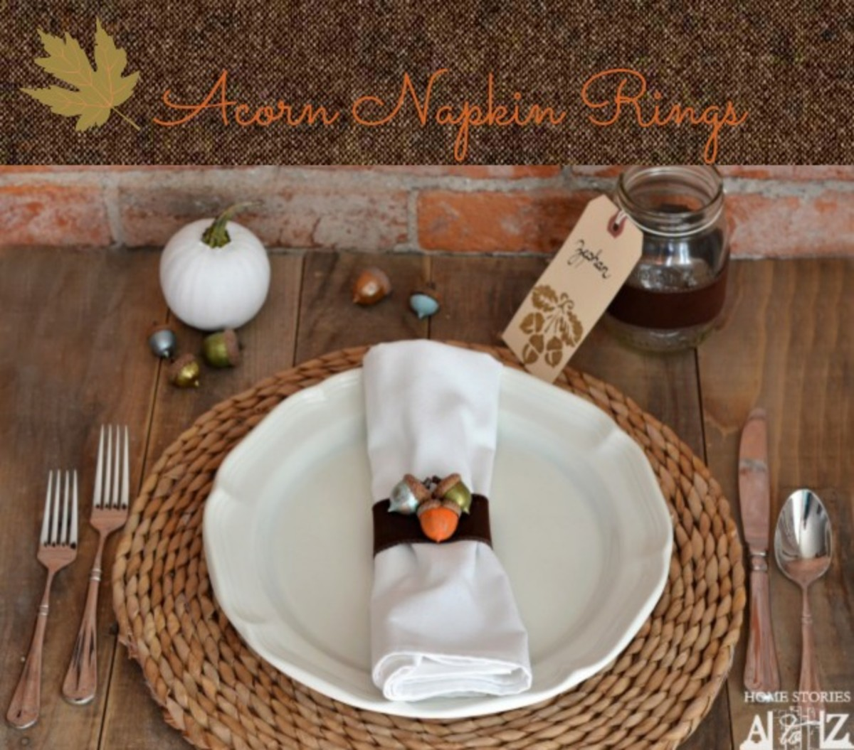 DIY Acorn Napkin Rings from Home Stories A-Z