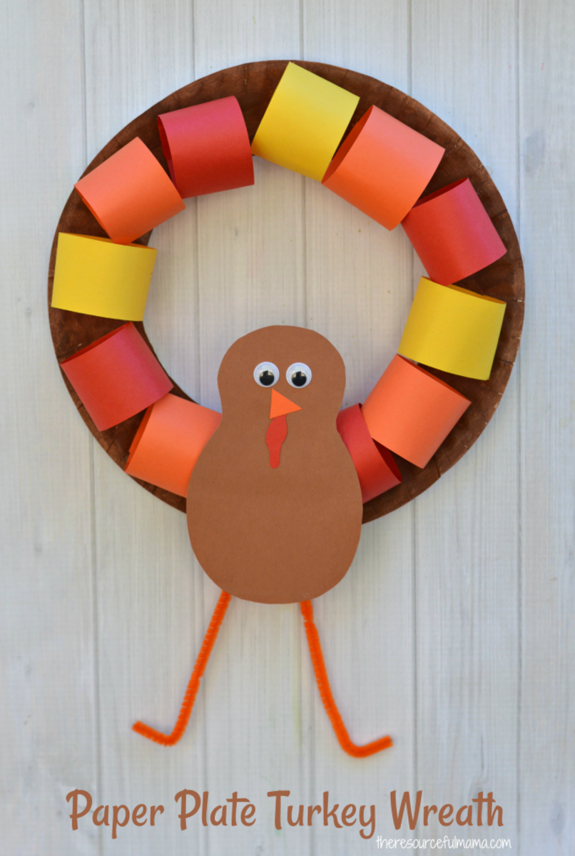 Paper Plate Turkey Wreath from The Resourceful Mama