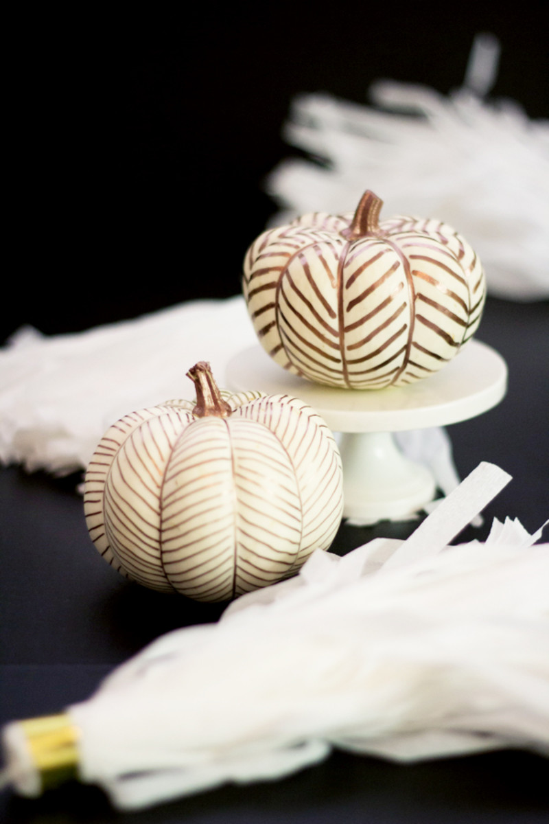 Copper Herringbone Pumpkins from Lovely Indeed