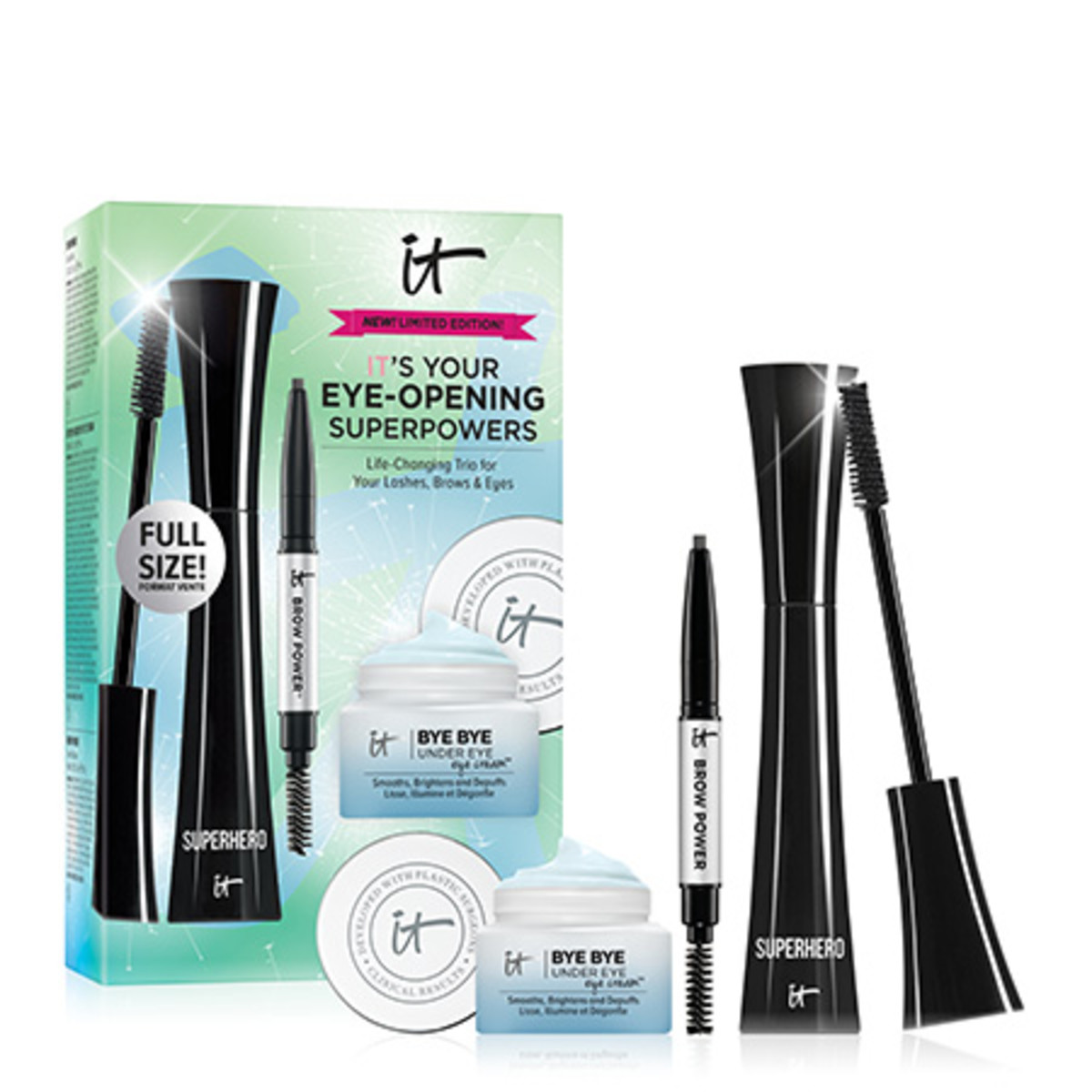 IT Cosmetics IT's Your Eye Opening Superpowers Products and Box